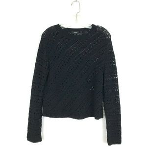 Theory black sweater crochet tissage knit pullover